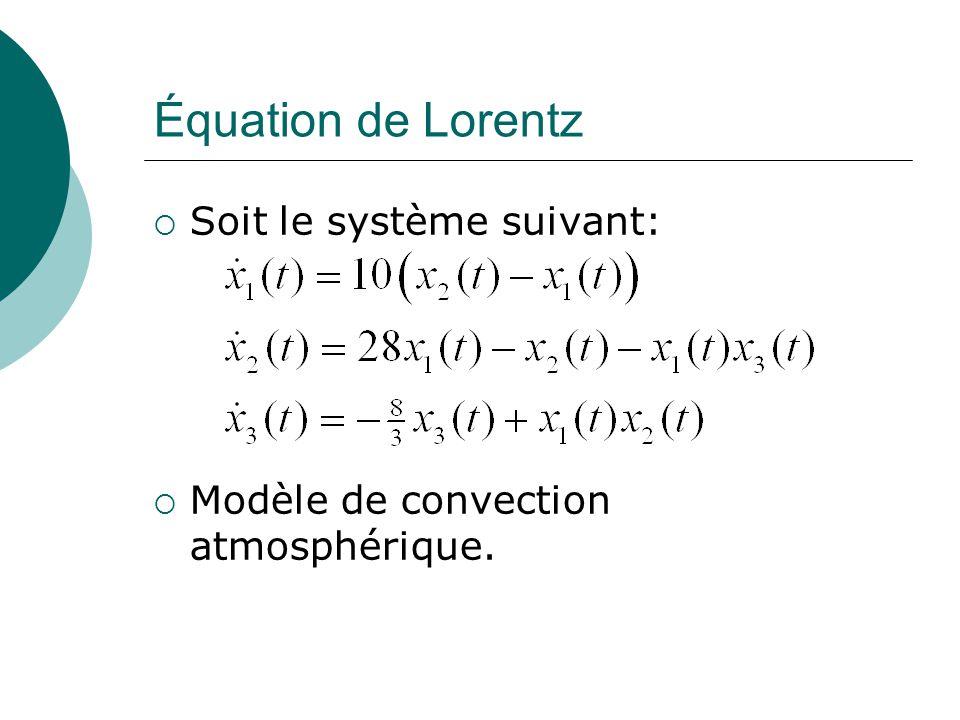 Équation de Lorentz Soit le système suivant: