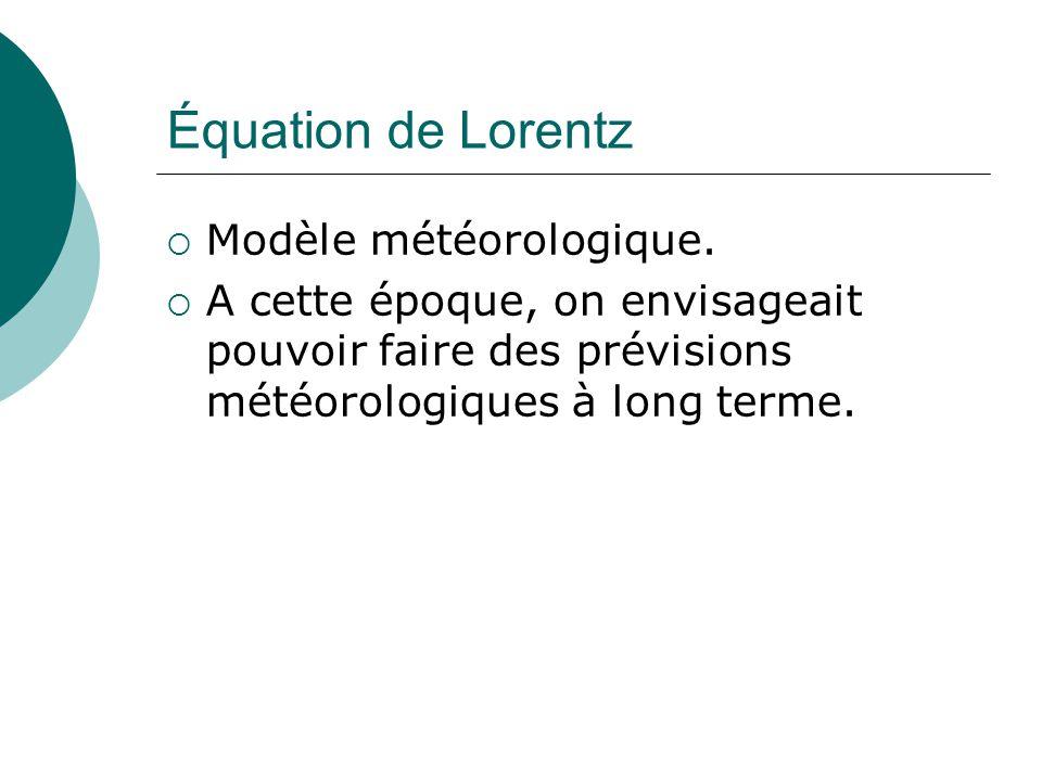Équation de Lorentz Modèle météorologique.