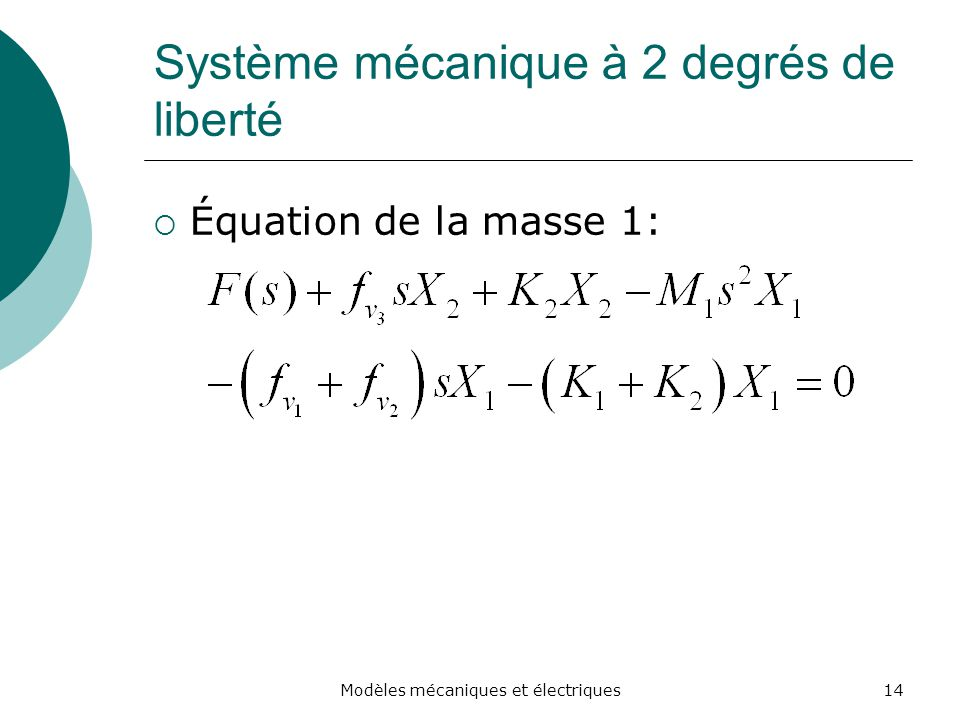Système mécanique à 2 degrés de liberté
