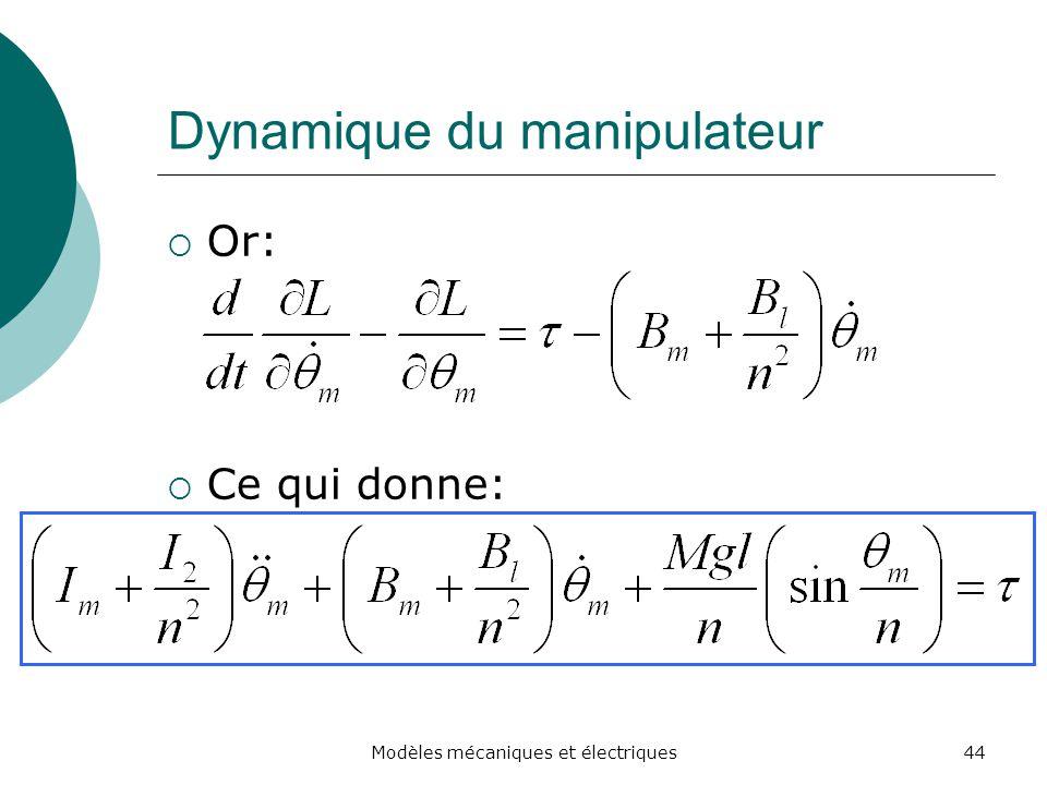 Dynamique du manipulateur