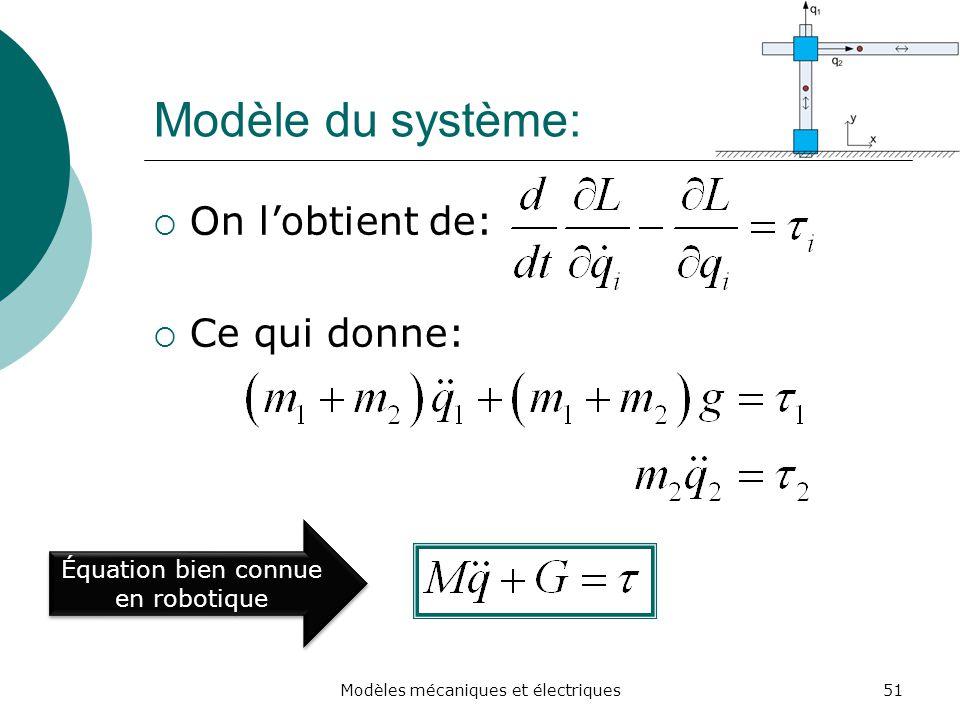 Modèle du système: On l'obtient de: Ce qui donne: