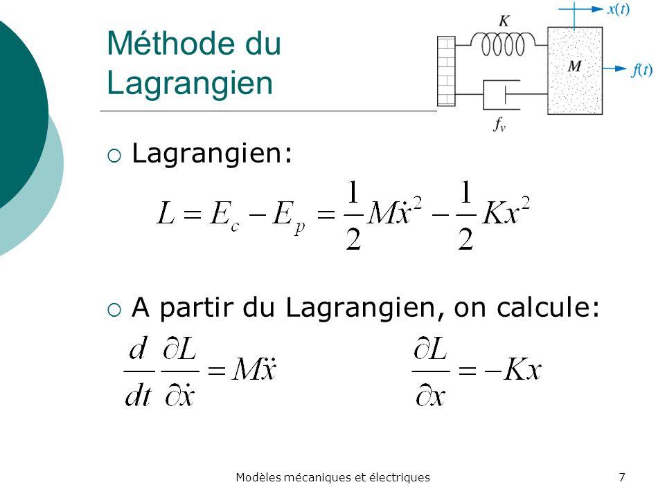 Modèles mécaniques et électriques