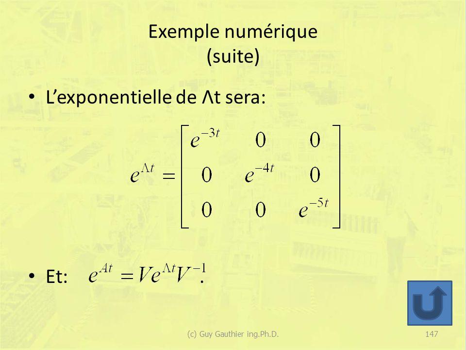 Exemple numérique (suite)