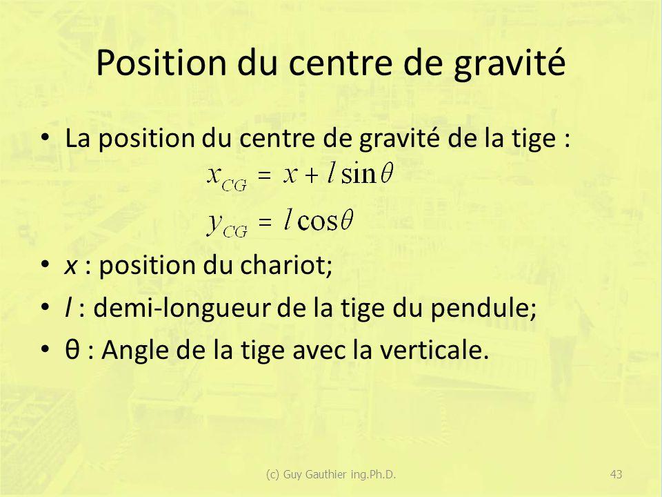 Position du centre de gravité