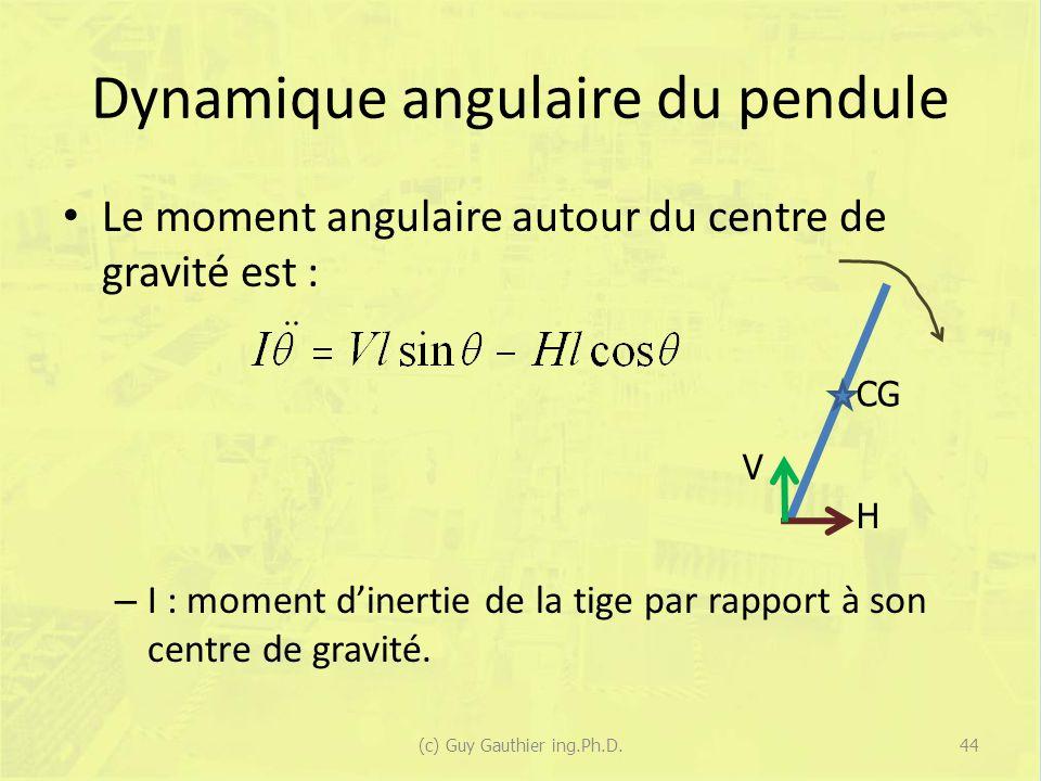 Dynamique angulaire du pendule