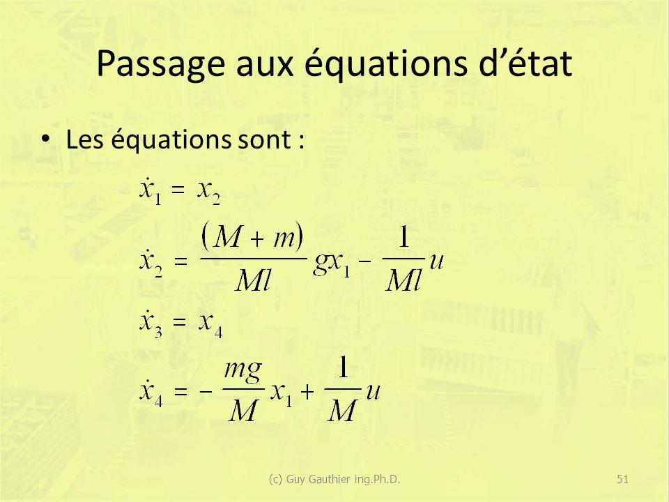 Passage aux équations d'état