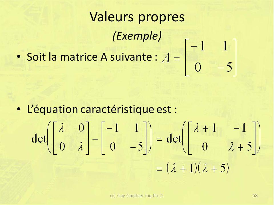 Valeurs propres (Exemple)