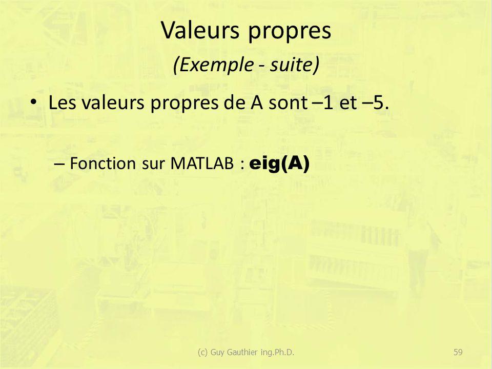Valeurs propres (Exemple - suite)