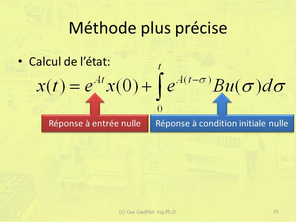 Méthode plus précise Calcul de l'état: Réponse à entrée nulle