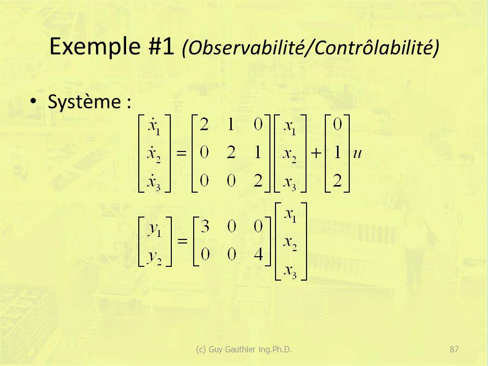 Exemple #1 (Observabilité/Contrôlabilité)