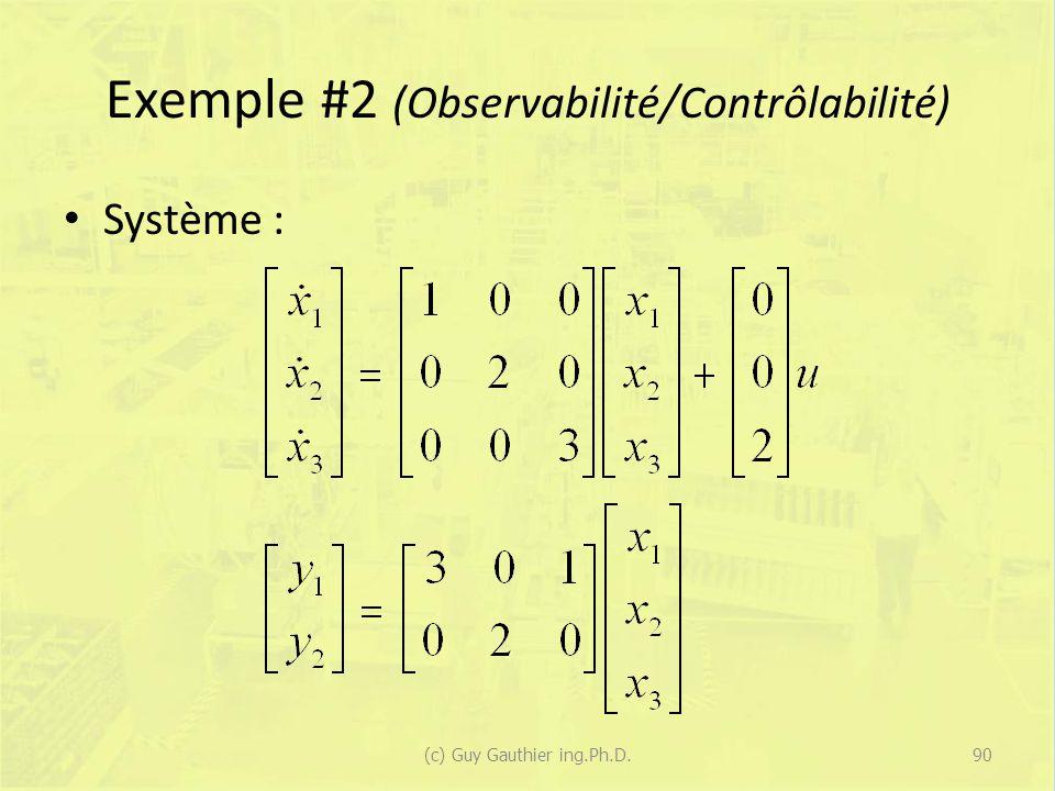 Exemple #2 (Observabilité/Contrôlabilité)