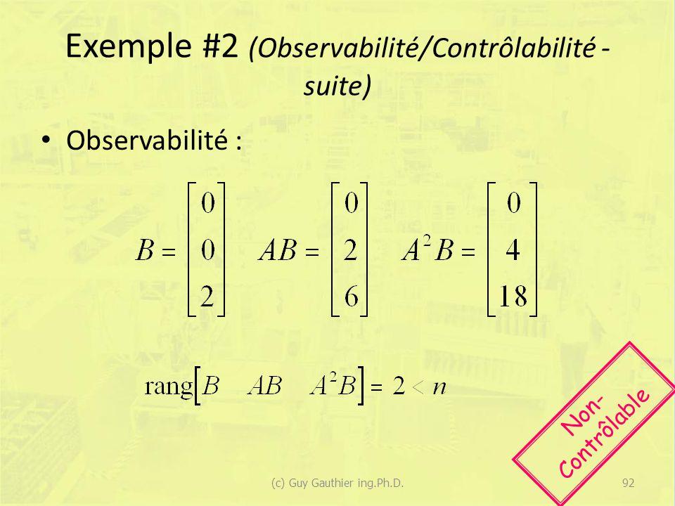 Exemple #2 (Observabilité/Contrôlabilité - suite)