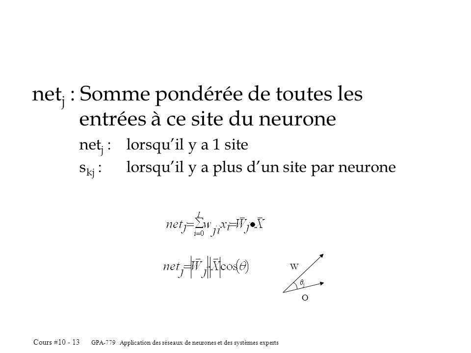 netj : Somme pondérée de toutes les entrées à ce site du neurone