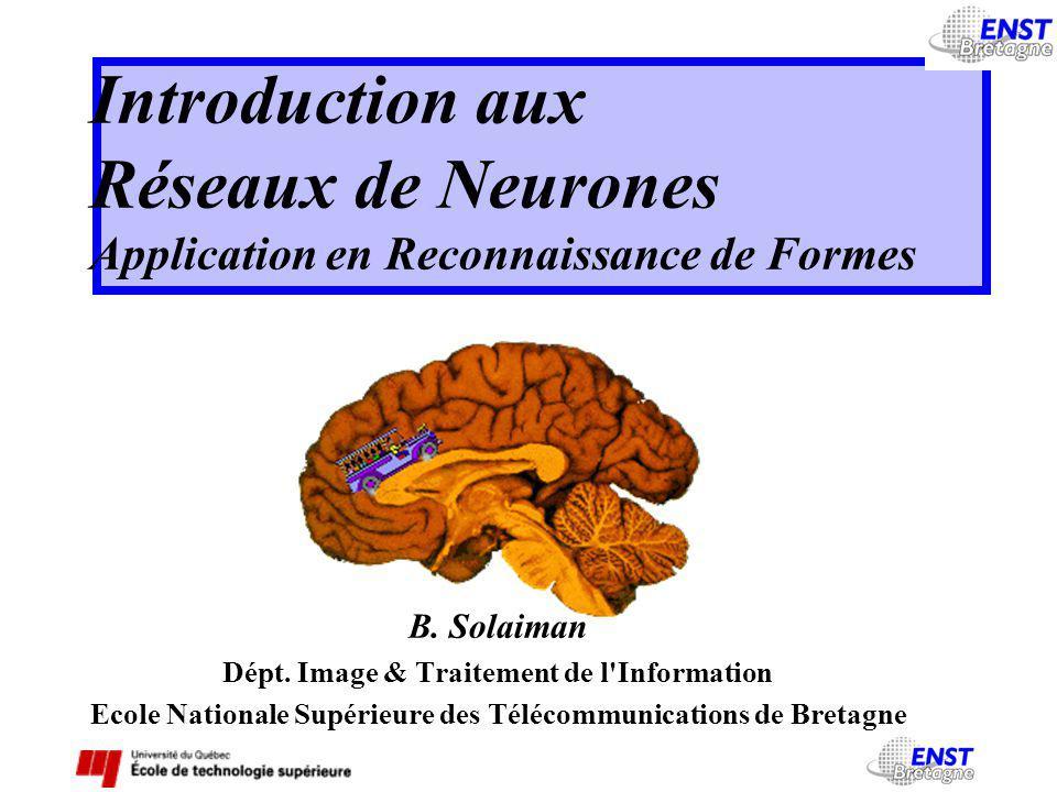 Introduction aux Réseaux de Neurones Application en Reconnaissance de Formes