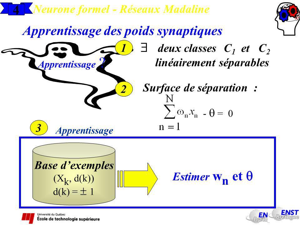 Apprentissage des poids synaptiques  deux classes C1 et C2