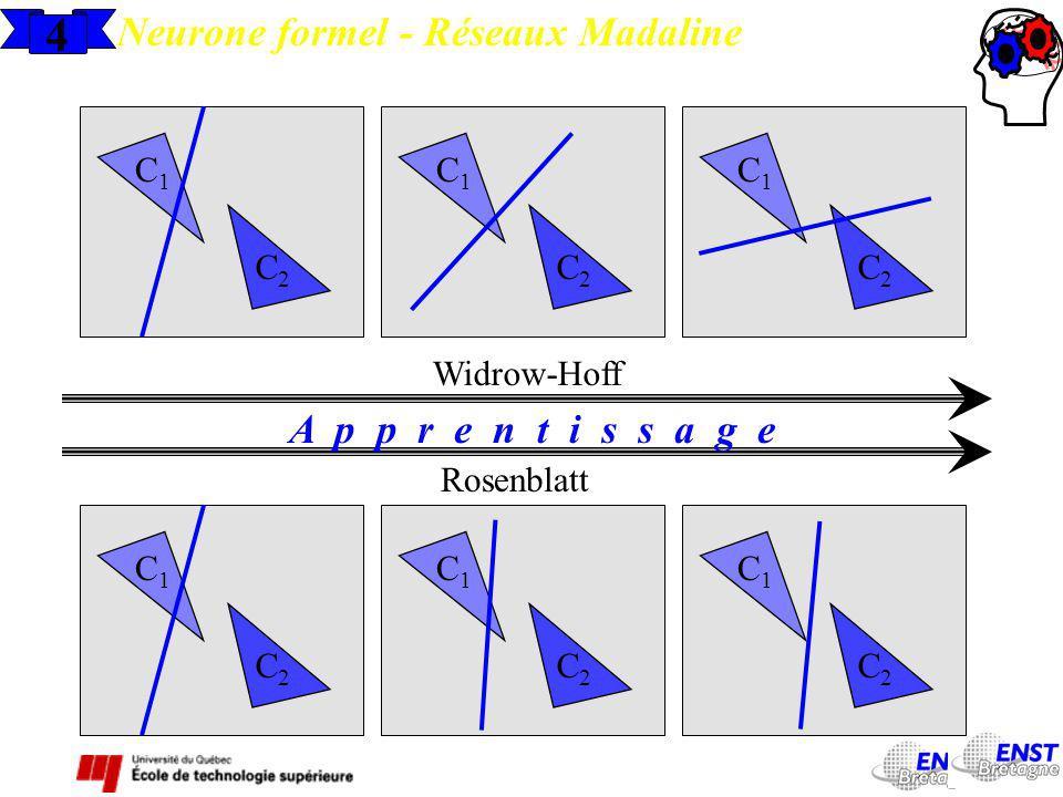 4 Neurone formel - Réseaux Madaline A p p r e n t i s s a g e C1 C2 C1