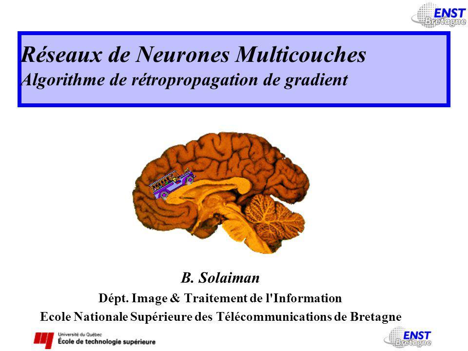 Réseaux de Neurones Multicouches Algorithme de rétropropagation de gradient