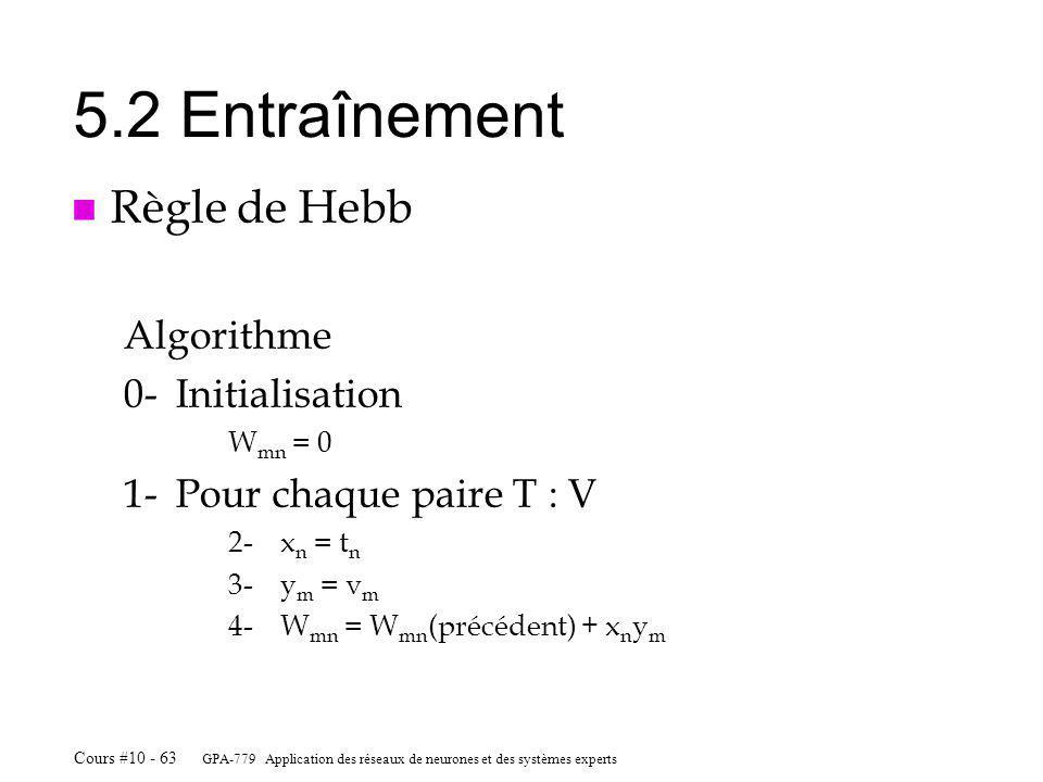 5.2 Entraînement Règle de Hebb Algorithme 0- Initialisation