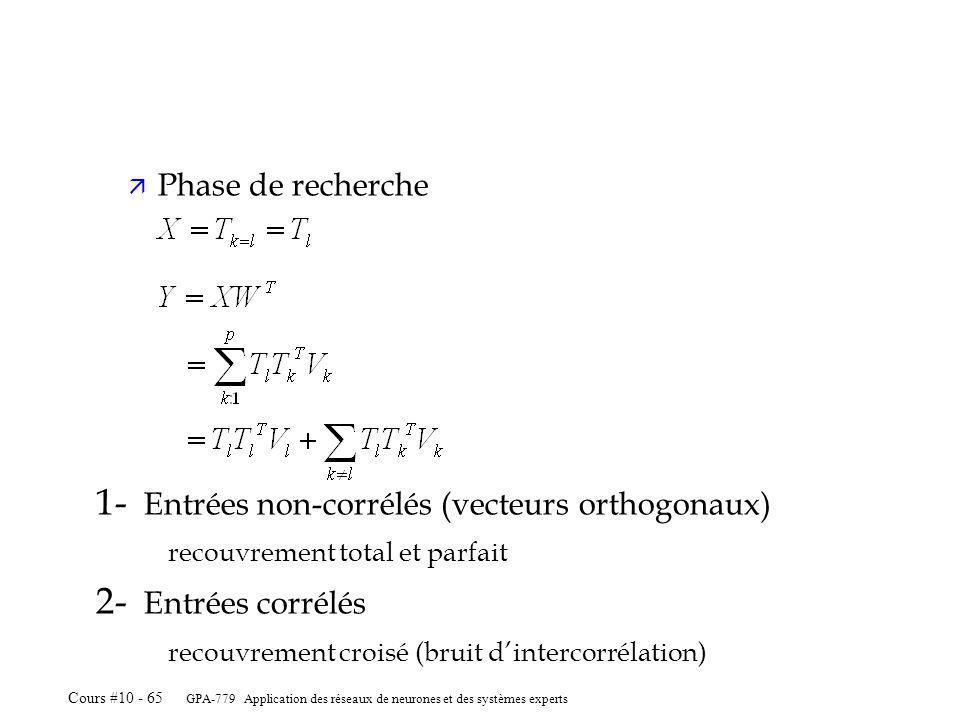 1- Entrées non-corrélés (vecteurs orthogonaux) 2- Entrées corrélés