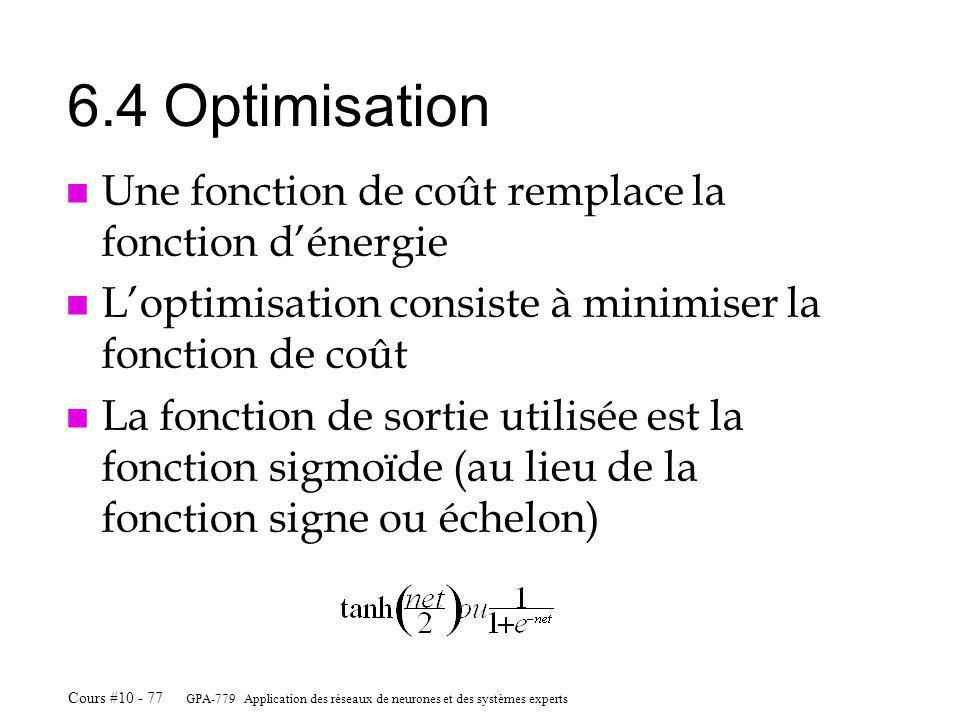 6.4 Optimisation Une fonction de coût remplace la fonction d'énergie