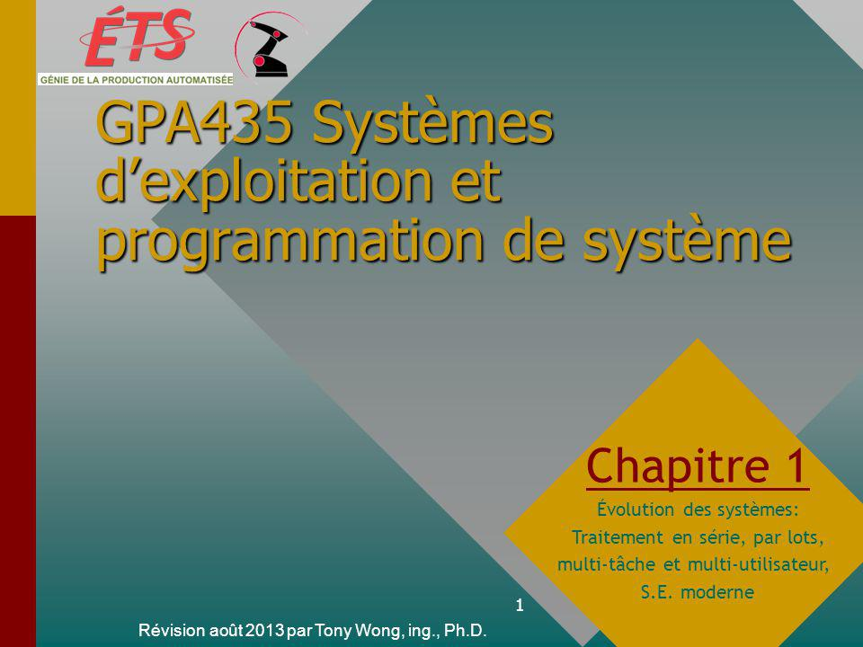 GPA435 Systèmes d'exploitation et programmation de système