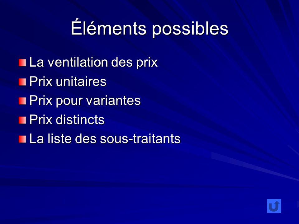 Éléments possibles La ventilation des prix Prix unitaires