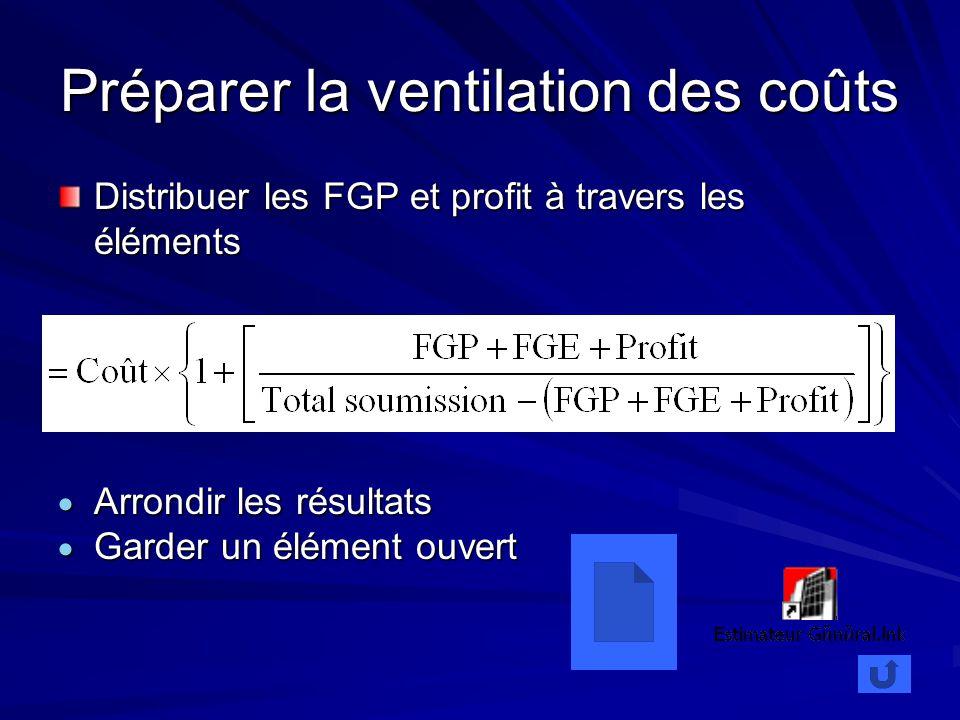 Préparer la ventilation des coûts