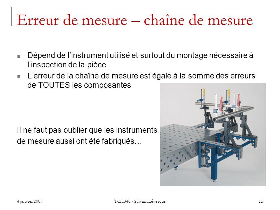 Erreur de mesure – chaîne de mesure
