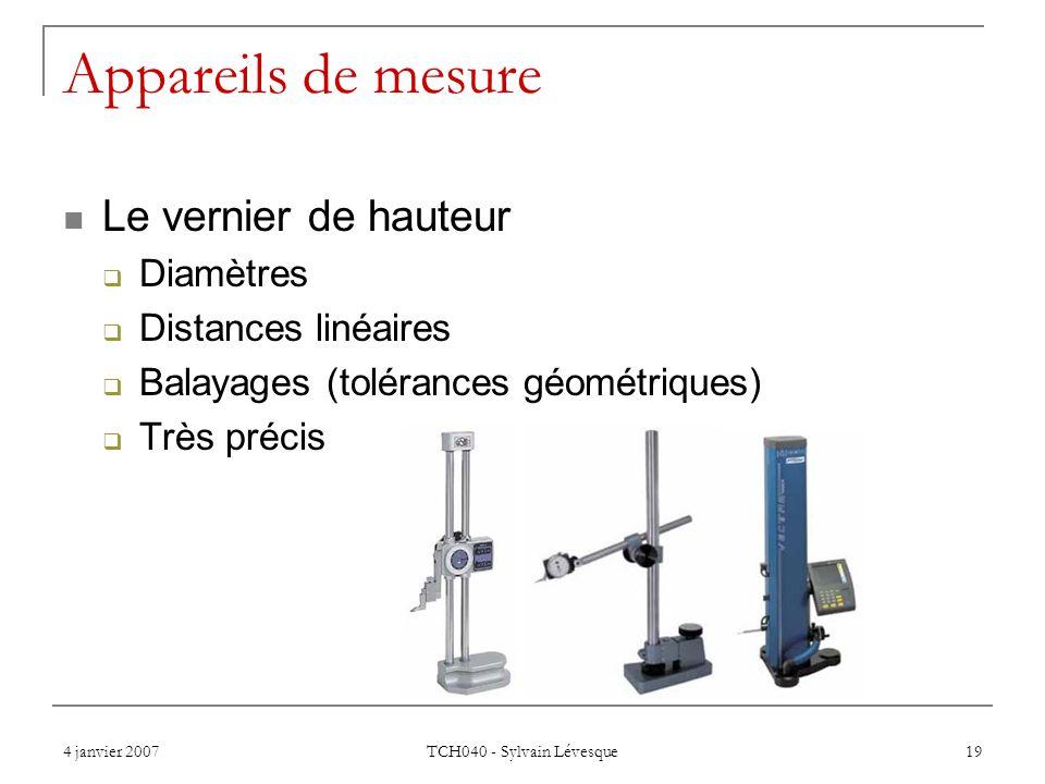 Appareils de mesure Le vernier de hauteur Diamètres