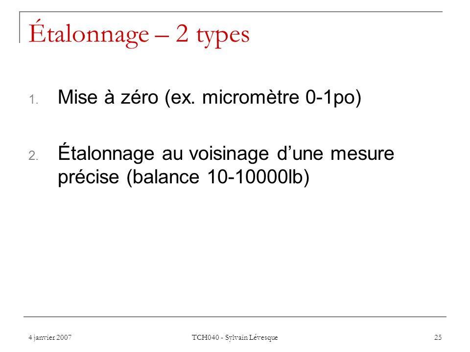 Étalonnage – 2 types Mise à zéro (ex. micromètre 0-1po)