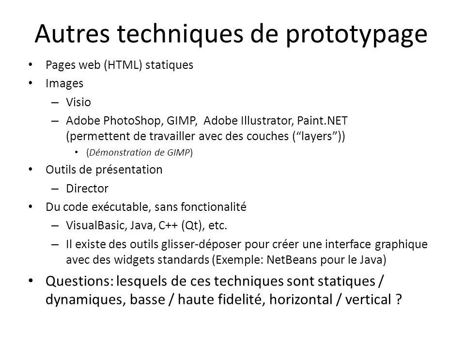 Autres techniques de prototypage