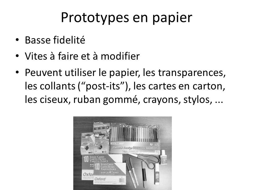 Prototypes en papier Basse fidelité Vites à faire et à modifier