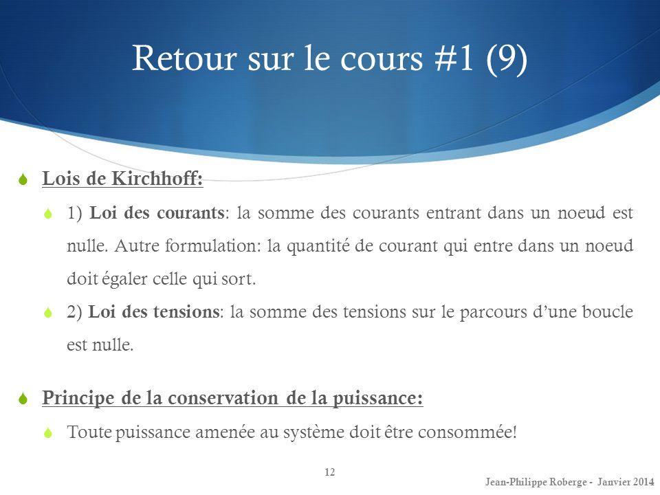 Retour sur le cours #1 (9) Lois de Kirchhoff: