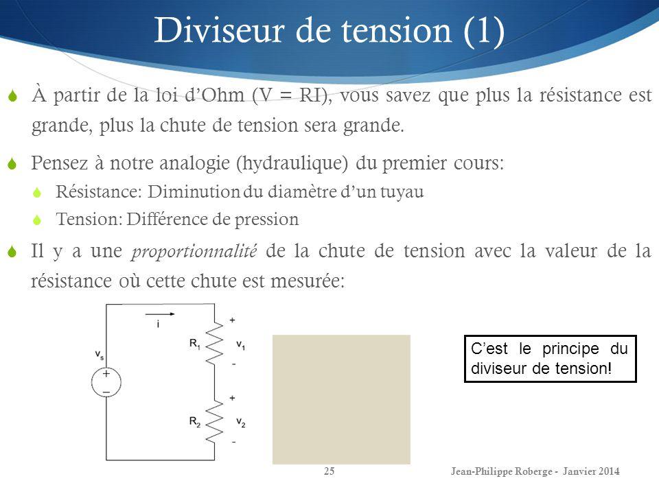 Diviseur de tension (1) À partir de la loi d'Ohm (V = RI), vous savez que plus la résistance est grande, plus la chute de tension sera grande.