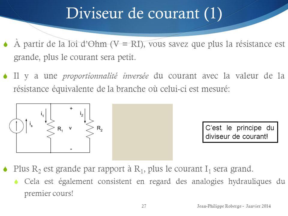Diviseur de courant (1) À partir de la loi d'Ohm (V = RI), vous savez que plus la résistance est grande, plus le courant sera petit.