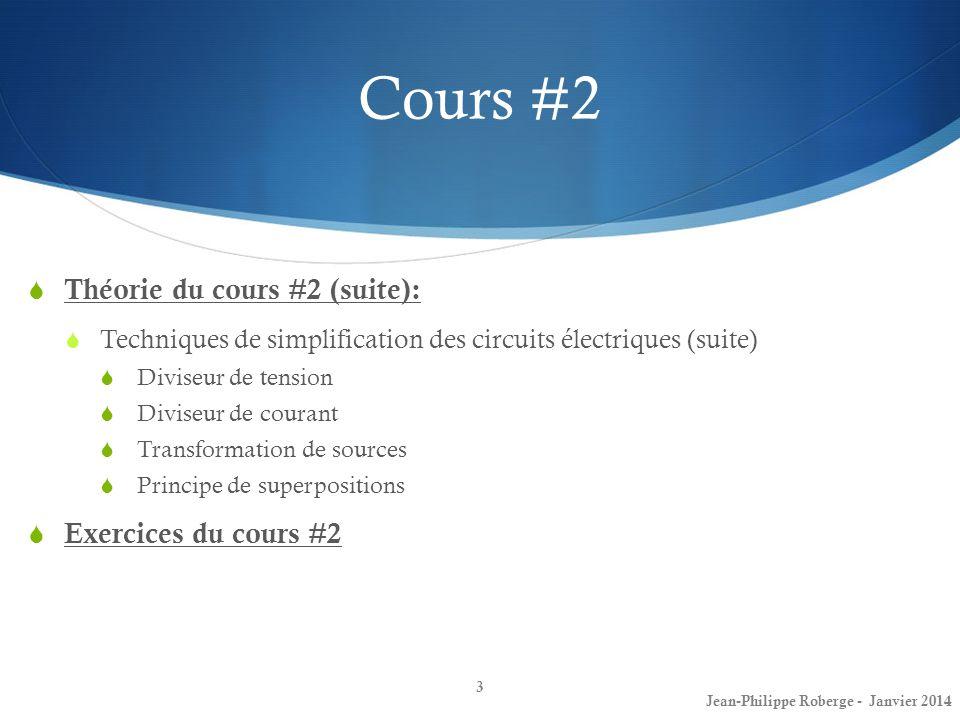 Cours #2 Théorie du cours #2 (suite): Exercices du cours #2