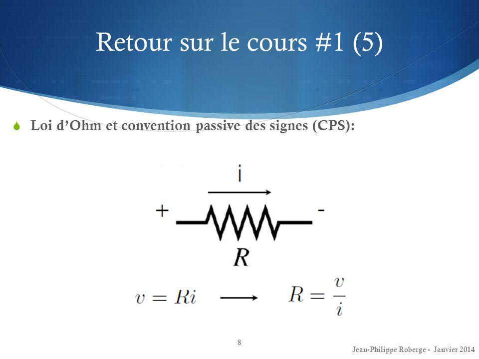 Retour sur le cours #1 (5) Loi d'Ohm et convention passive des signes (CPS): Jean-Philippe Roberge - Janvier 2014.