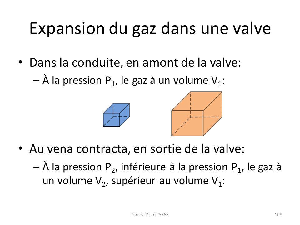 Expansion du gaz dans une valve