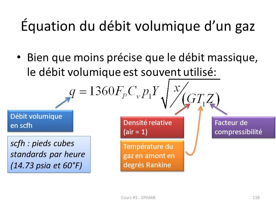 Équation du débit volumique d'un gaz