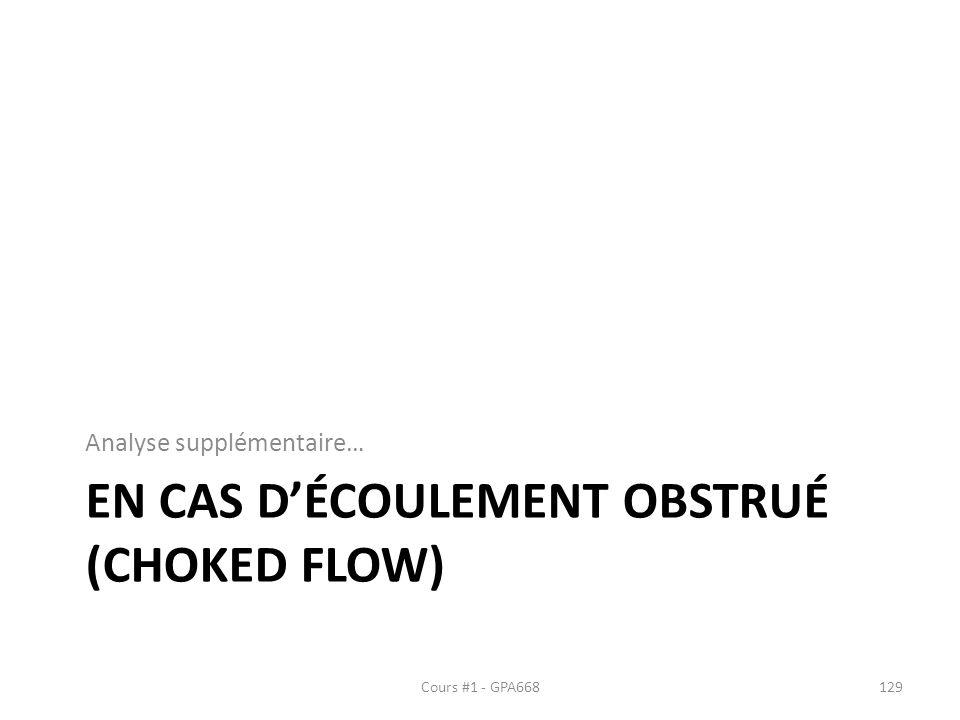 En cas d'écoulement obstrué (Choked flow)
