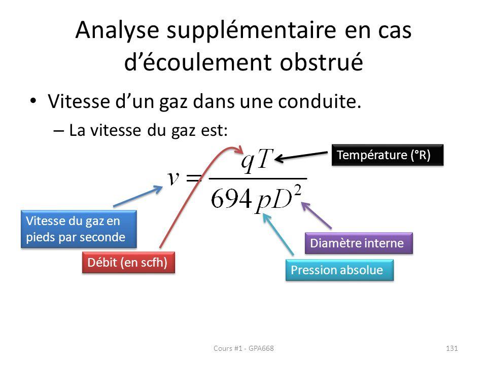 Analyse supplémentaire en cas d'écoulement obstrué