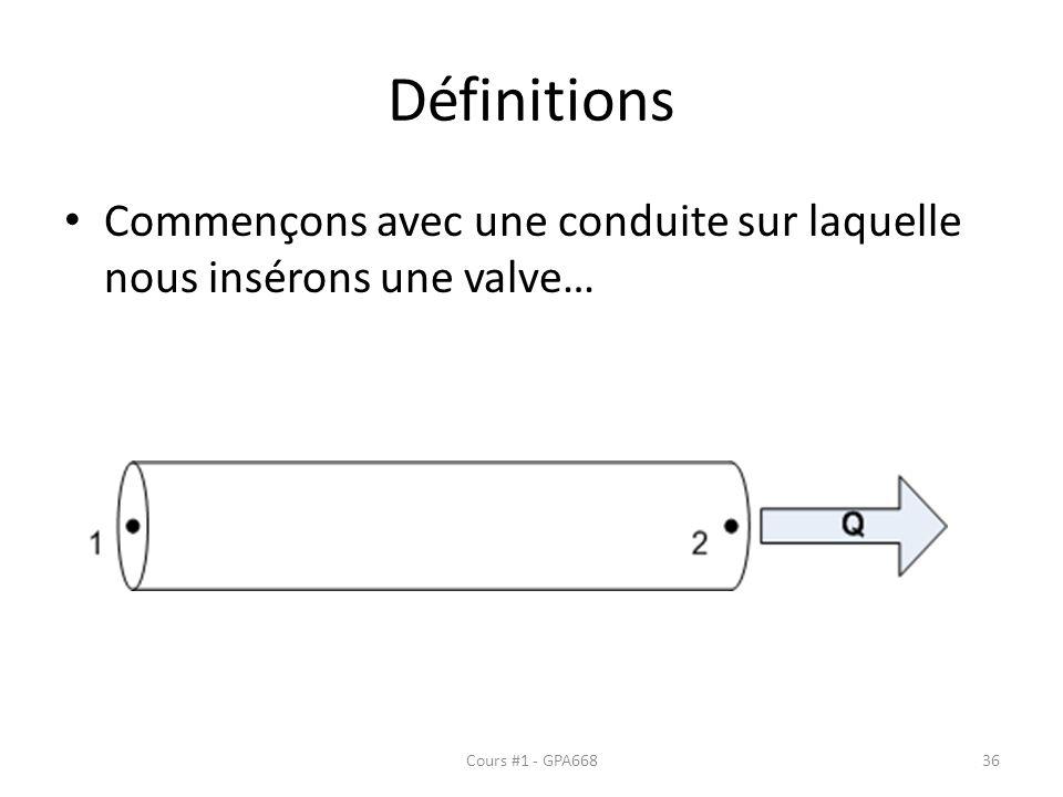Définitions Commençons avec une conduite sur laquelle nous insérons une valve… Cours #1 - GPA668
