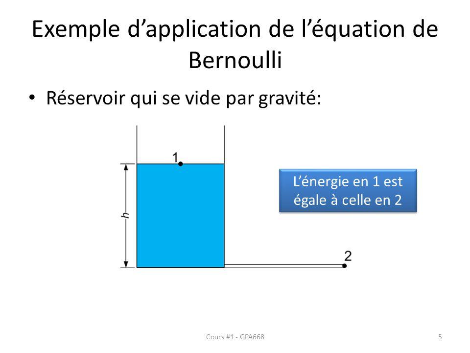 Exemple d'application de l'équation de Bernoulli