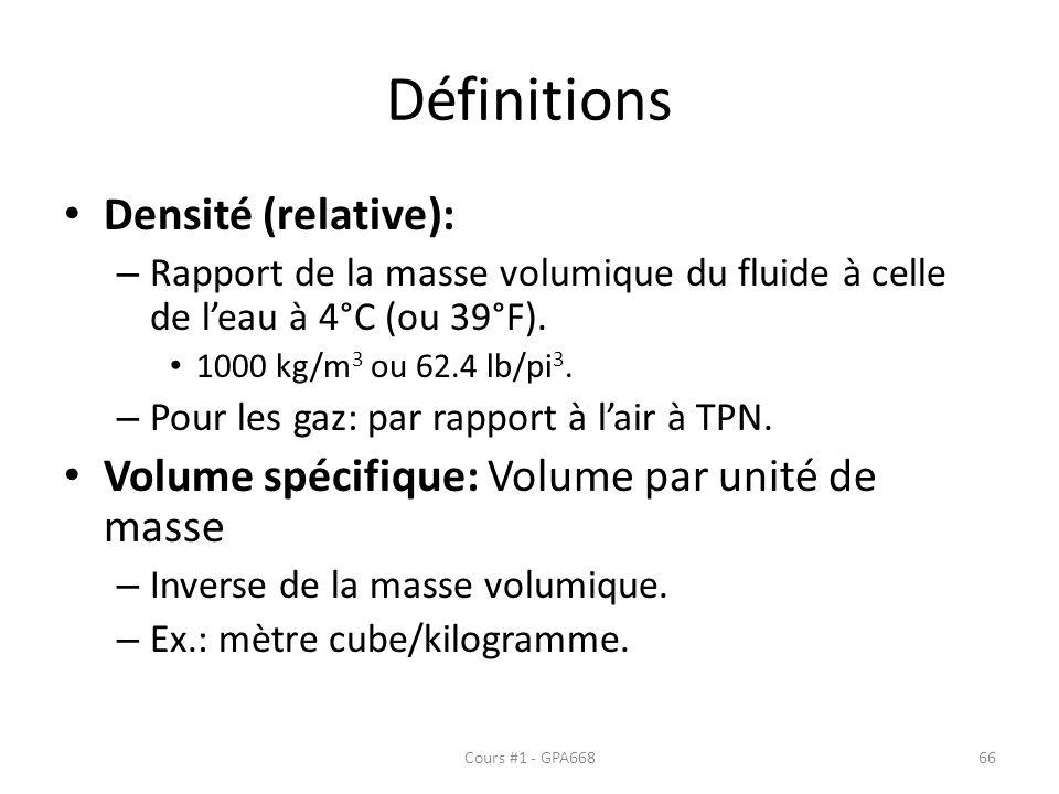 Définitions Densité (relative):