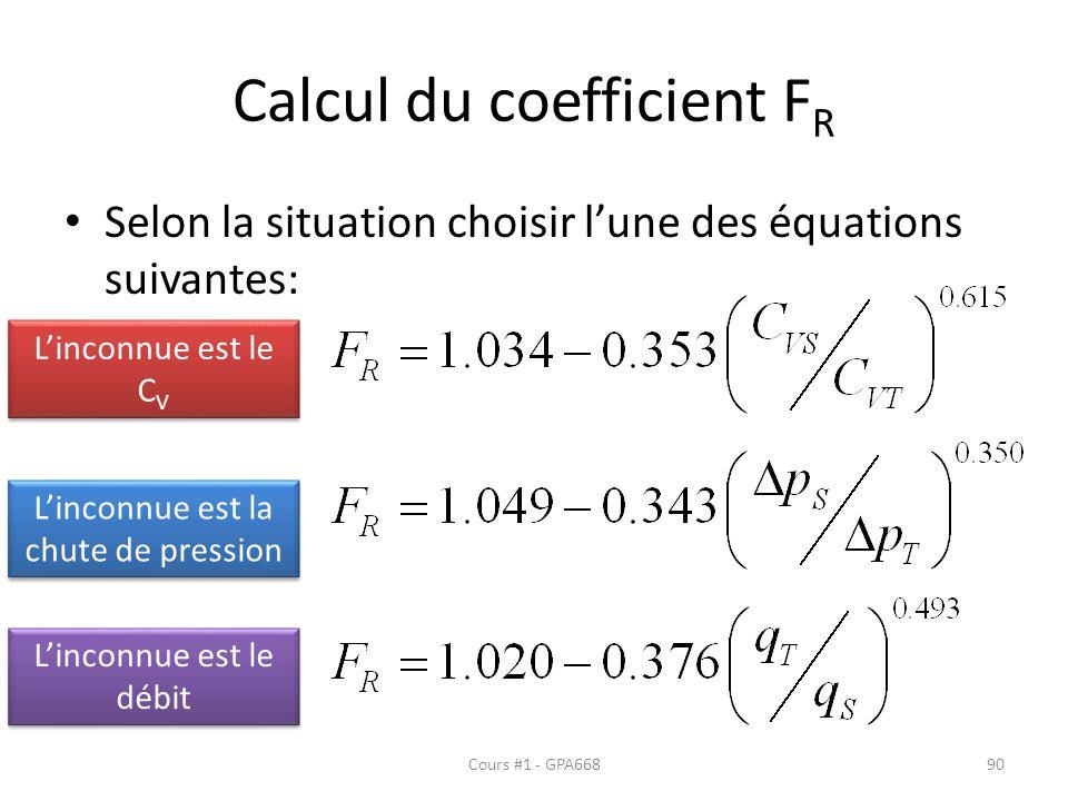 Calcul du coefficient FR