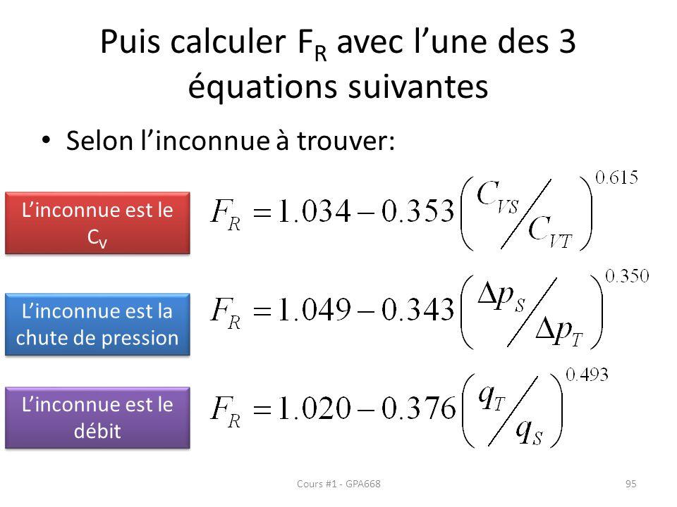 Puis calculer FR avec l'une des 3 équations suivantes