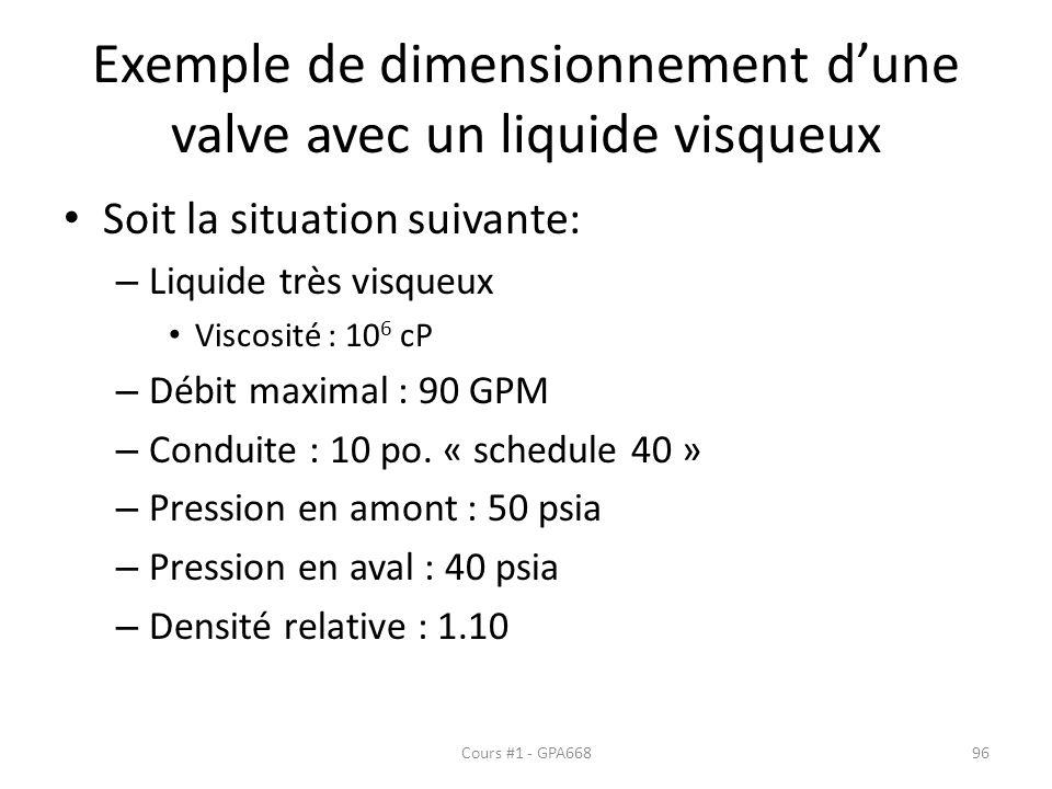 Exemple de dimensionnement d'une valve avec un liquide visqueux
