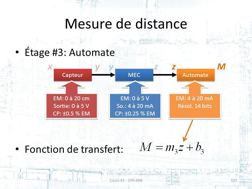 Mesure de distance Étage #3: Automate Fonction de transfert: x y y z z