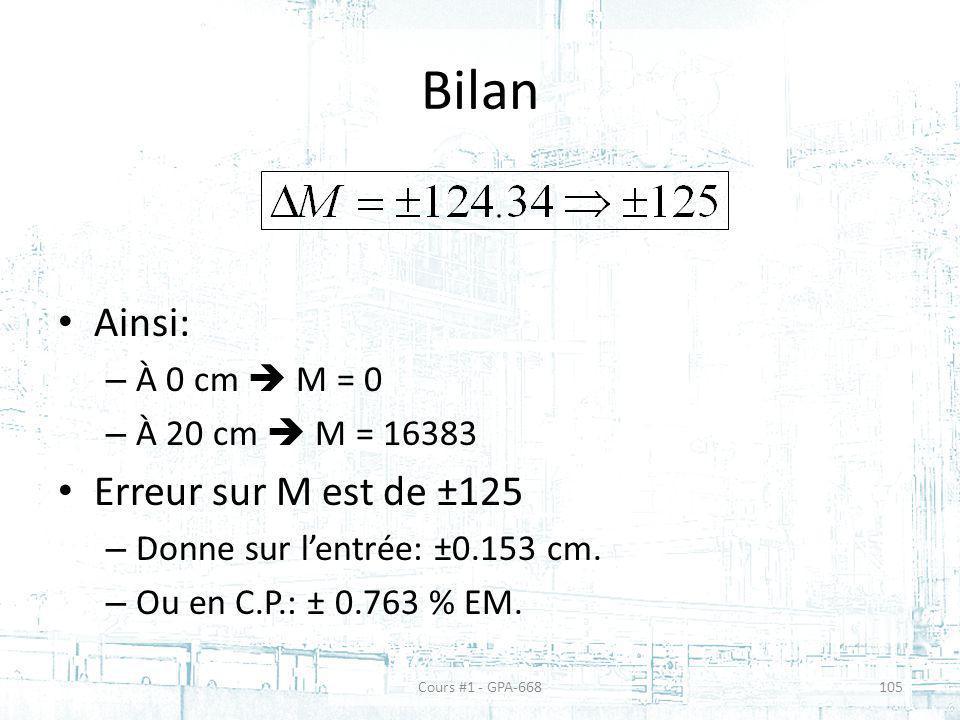 Bilan Ainsi: Erreur sur M est de ±125 À 0 cm  M = 0