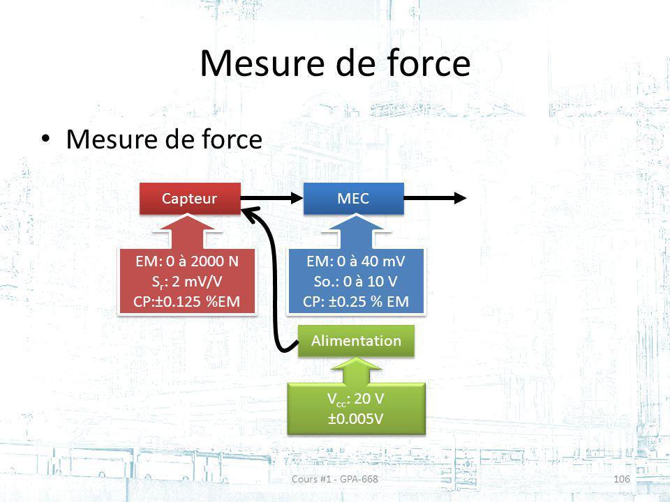 Mesure de force Mesure de force Capteur MEC EM: 0 à 2000 N Sr: 2 mV/V
